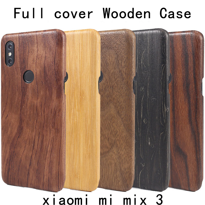 Natural Wooden Bamboo case FOR Xiaomi MI MIX 3 MIX3 Wood latte case cover walnut shell Full cover Style 2 Stable Real wood