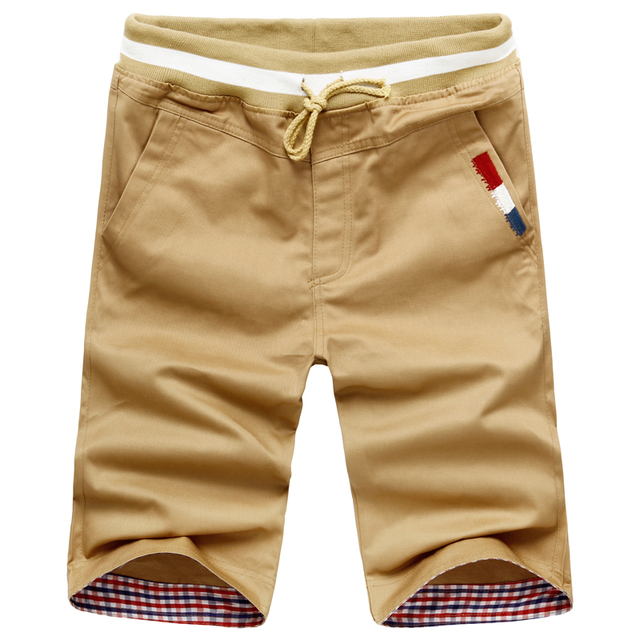 Men Casual Shorts New Summer Men Elastic Waist Shorts Knee Length Male Cotton Casual Short Pants 3