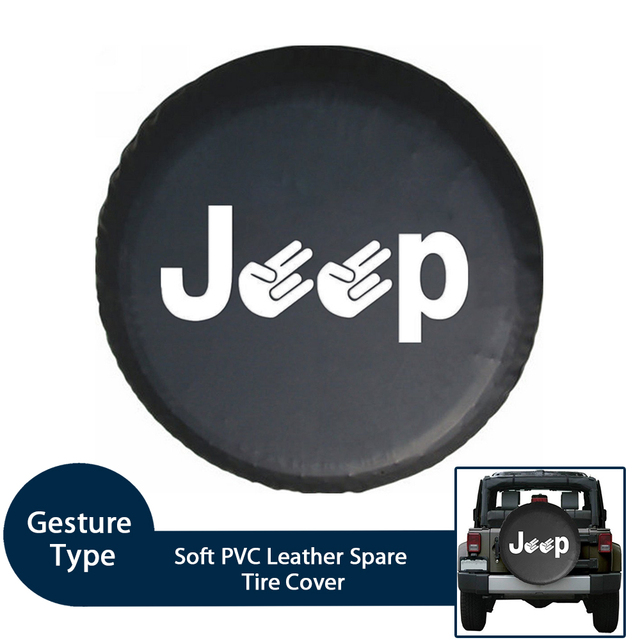 Soft PVC Leather Spare Tire Cover Waterproof Fingers Type RV Wheel Covers...