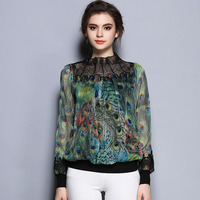 Europe New High End Floral All Match Women Lace Long Sleeve Embroidered Blouses XFN7016
