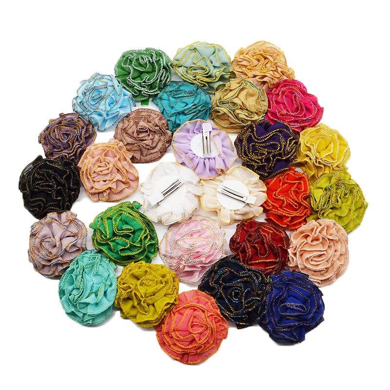 3pcs 8cm Chiffon Flowers Artificial Silk Flower Heads Flower Hair Accessories Wedding Decoration Scrapbooking Headdress Flowers