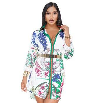 2019 Summer Women Long Sleeve Turn Down Collar Flowery Printed Shirt Dress Casual Loose Hip Hop Harajuku Mini Dress without belt shyfull casual printed multicolor