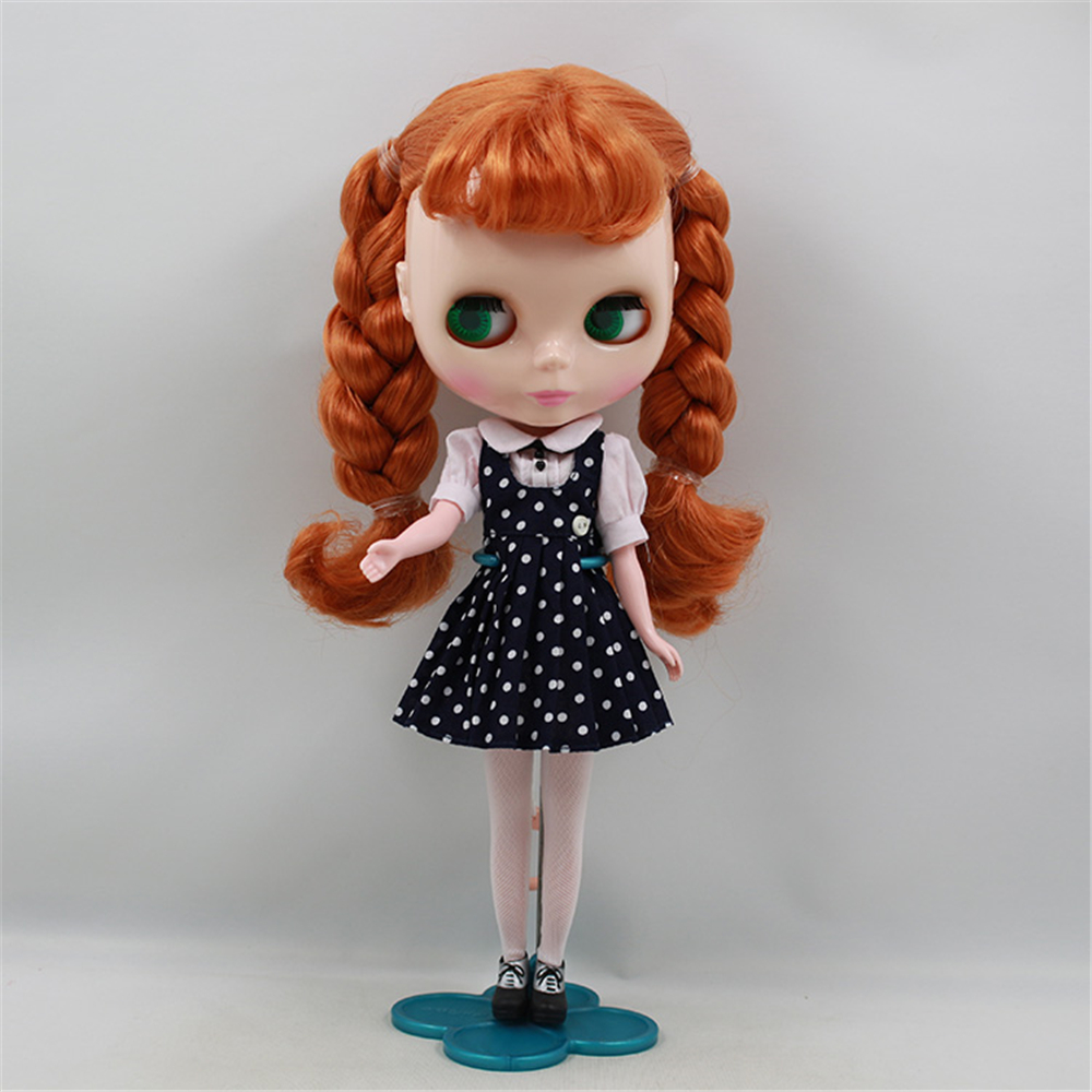 Factory Blyth Doll Nude Doll Orange Brown Hair With Bangs Braids Pink Mouth 4 Colors For