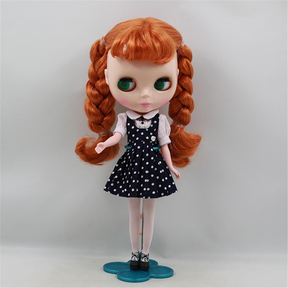 Oyuncaklar ve Hobi Ürünleri'ten Bebekler'de Fabrika Blyth Doll Çıplak Bebek Turuncu Kahverengi Saç Patlama Ile Örgüler Pembe Ağız Için 4 Renkler Gözler Için Uygun DIY'da  Grup 1