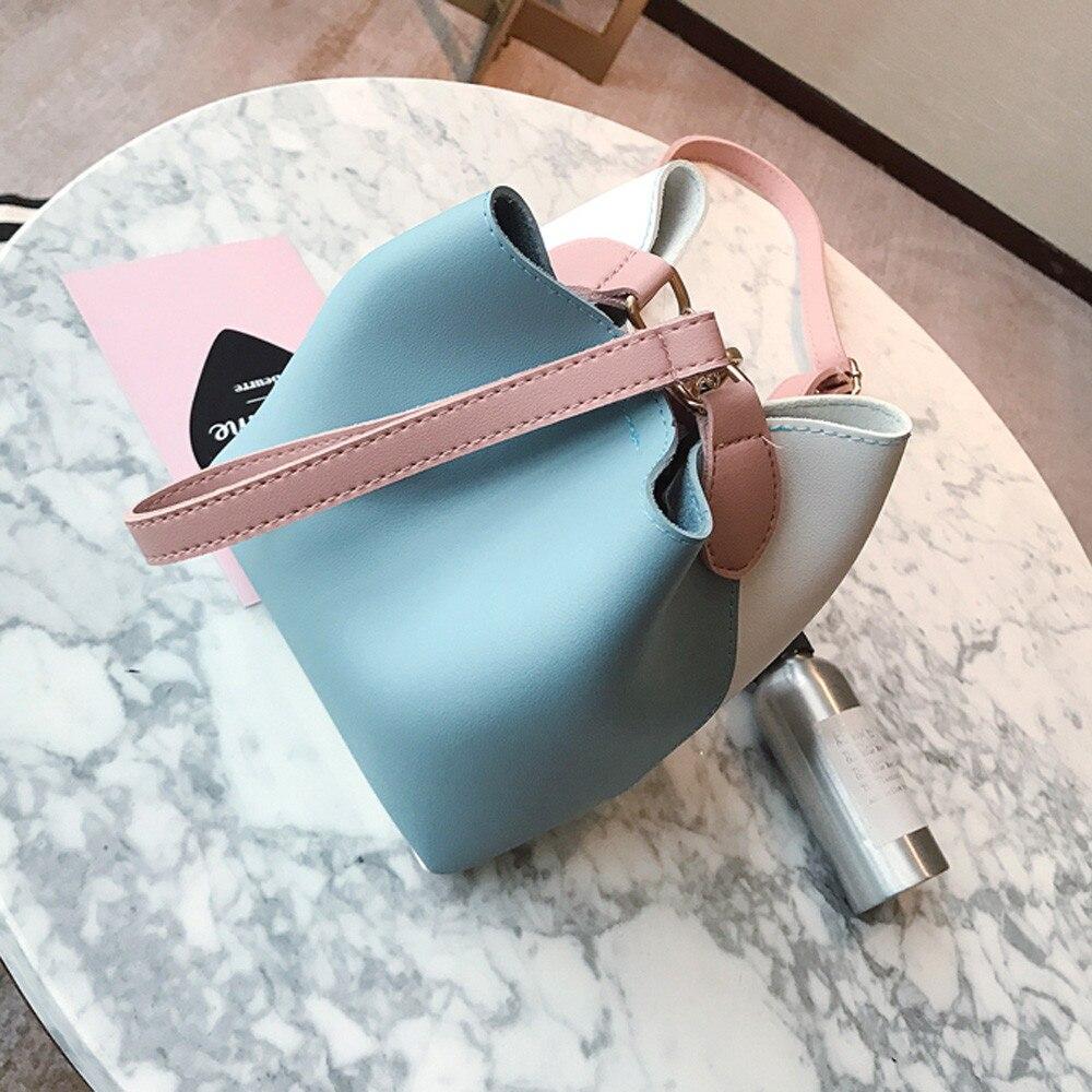 Bag Female Women Leather Wide Handbag Patchwork Shoulder Crossbody Bucket Bag July4
