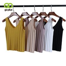 GOPLUS 2019 Sleeveless V-Neck Sexy Knitted Tank Top Women Soft Cotton Elastic Basic Camisole Female Vest Casual T-shirt Ladies сказочные домики заюшкина избушка 3d сказка