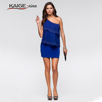 2015 Summer Style Hot Sale Pretty Girl Summer Dress One Shoulder Drape Sexy Bodycon Dress Casual