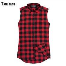 TANGNEST Men's Vest 2018 New Arrival Plaid Casual Sleeveless Shirt Male Cotton Summer Fashion Side Zipper Tank Top MCS646