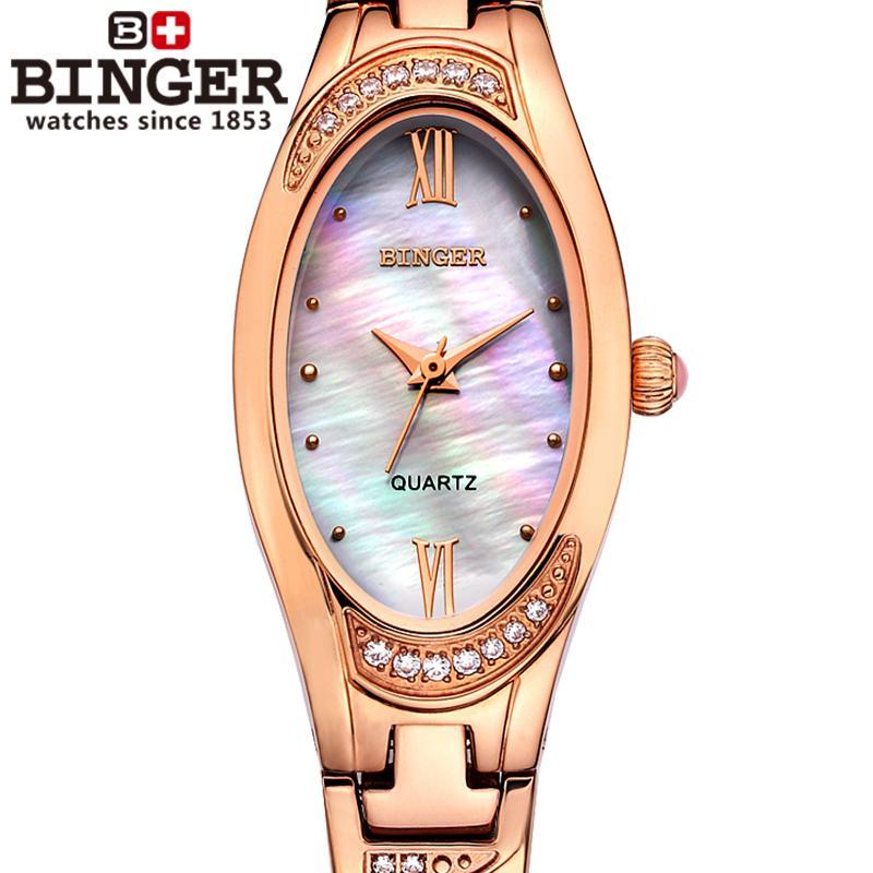 7bb4f7a05e7 Suíça Binger relógios das Mulheres moda de luxo relógio de quartzo de  safira relógios de Pulso de aço inoxidável completa B-3022L-4