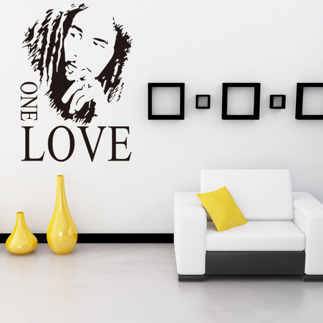 BOB MARLEY GRAPHIC ONE LOVE Quote Music Fan Wall Stickers For Bathroom Bedroom Decoration Vinyl Wallpapers