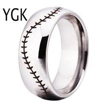 YGK Brand 8MM Silver Dome Baseball Stitch Comfort Men's Fashion Tungsten Wedding Ring