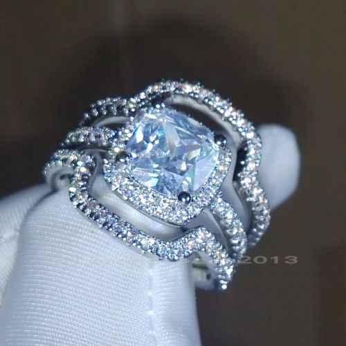 Frete grátis venda Hote Size5-11 Princesa de Luxo 10kt white gold filled AAA CZ mulheres Anel De Casamento Noivado definir choucong