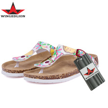 WINGEDLION 2017 Summer Beach Cork Slippers Sandals Casual Buckle print Sandalias Women Slip on Flip Flops Flats Shoe Plus Size