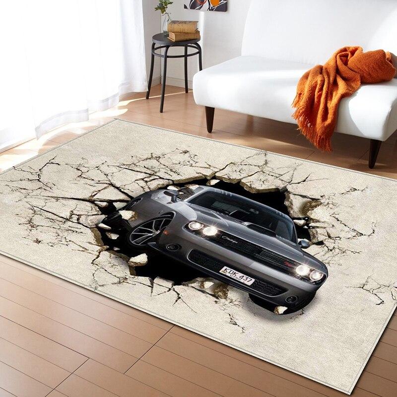 Style nordique motif géométrique 3D tapis grande taille salon chambre tapis et tapis rectangulaire anti-dérapant tapis de sol