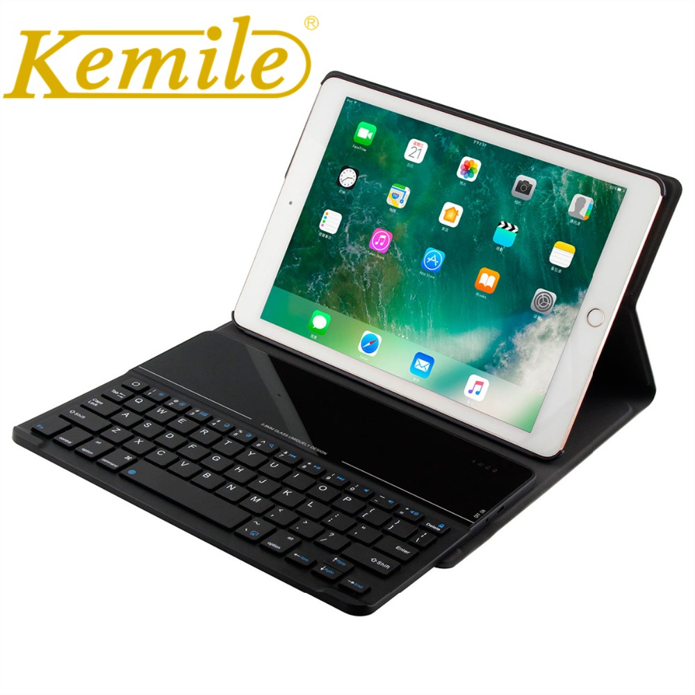 Kemile For ipad pro 9.7 Case Ultra Slim Glass Bluetooth 3.0 Keyboard Cover for iPad pro 9.7 case W Removeable Keyboard Keypad mr northjoe ultra slim crystal hard case keyboard cover anti dust plug set for macbook pro 13 3