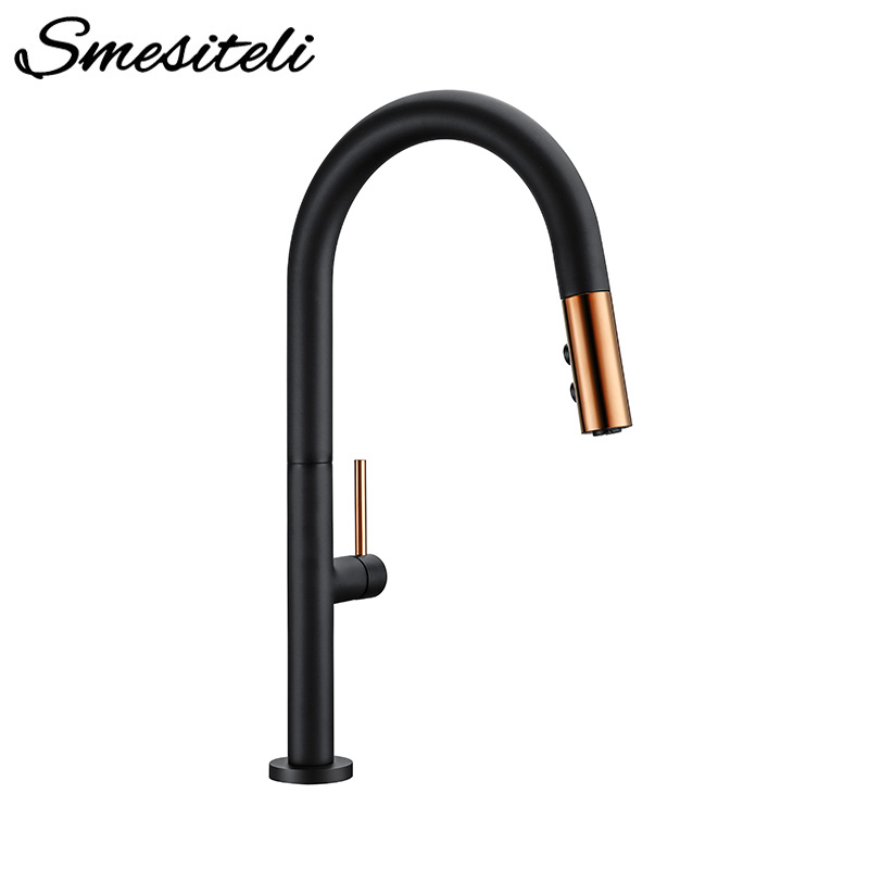 Smesiteli Pull Out Rotation Spray Mixer Kitchen Faucet Matte Black Cold And Hot Water Single Handle Brass Kitchen Sink Faucet|Kitchen Faucets| |  - title=