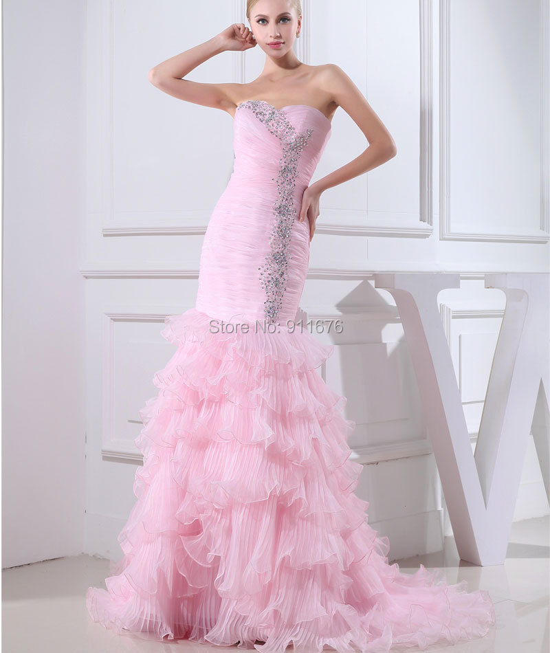 Cheap Mermaid Wedding Gowns: 2017 Elegant Off The Shoulder Bridal Gowns Pink Organza