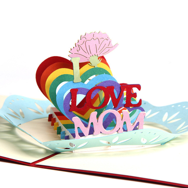 I LOVE MOM Creative Greeting Cards Mothers Day Gifts 3D POP UP Postcards With Envelope