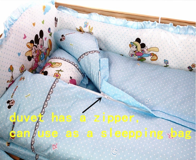 Promotion! 7pcs Cartoon With Filler Baby crib bedding set 100% cotton baby bedding set (4bumper+duvet+matress+pillow)