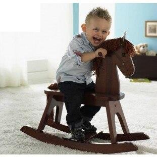 Бесплатная доставка Древесина лошадка Trojan ребенок кресло качалка rollaround лошадь обувь по заводским ценам Экологичные верхом на палочке для О