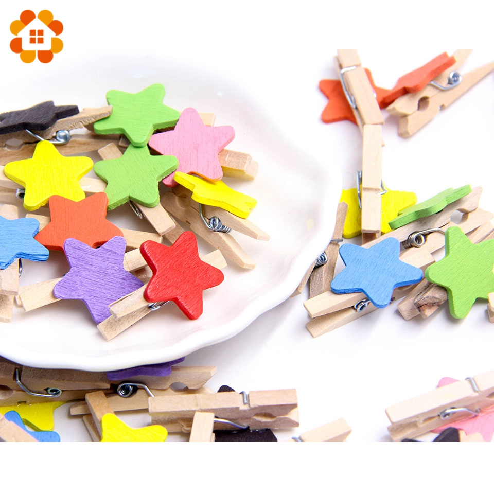 50PCS/Pack Star Wooden Clips Colorful Cute Photo Clips Clothespin Clips DIY Craft For Christmas Party Wedding Home Decoration
