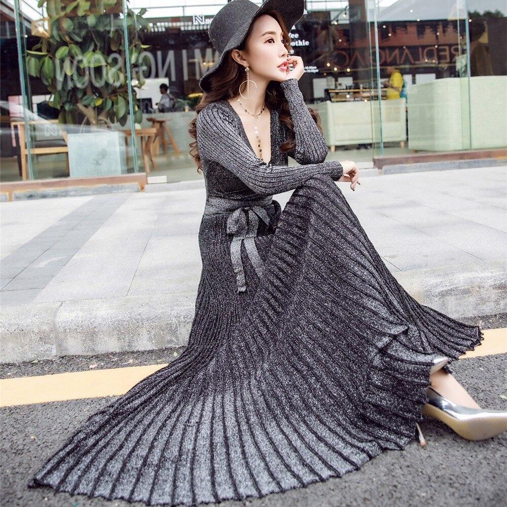2018 spring autumn silver silk knit Sexy V neck dress women knitting sweater pleated Dress Maxi Party Dresses Vestido De Festa