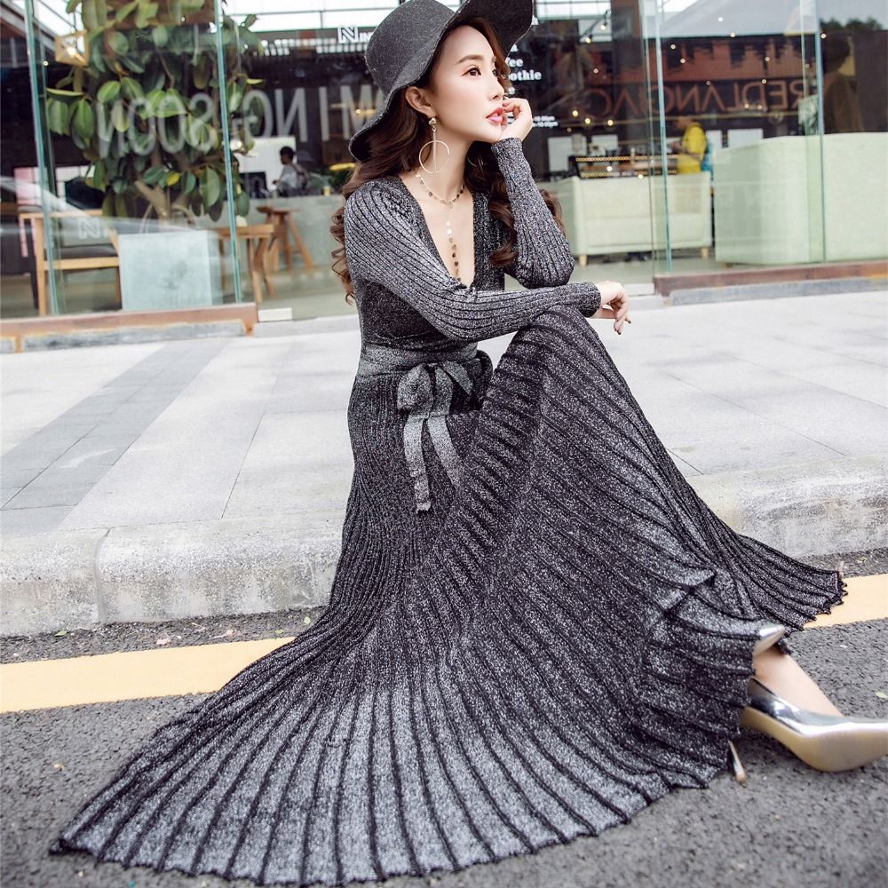 2018 spring autumn silver silk knit Sexy V neck dress women knitting sweater pleated Dress Maxi Party Dresses Vestido De Festa