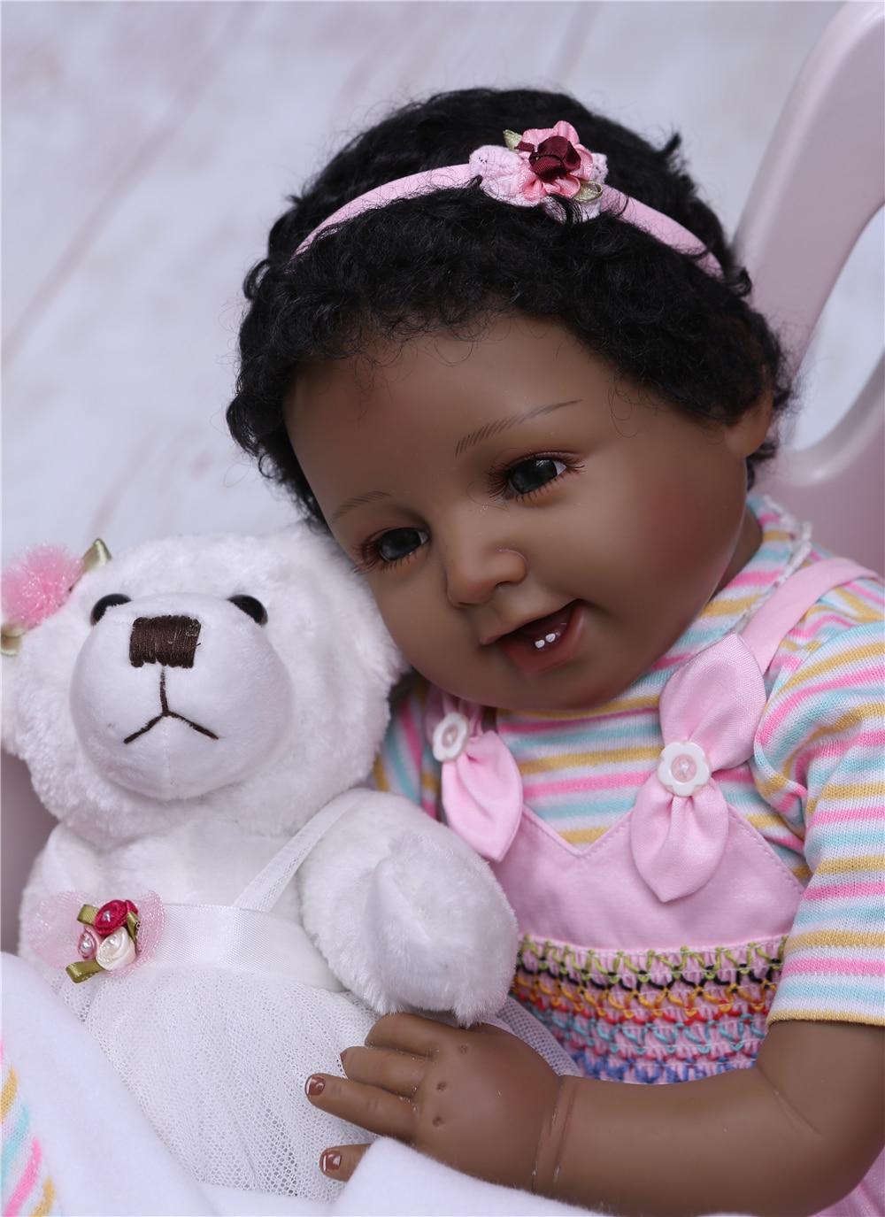 "Black doll reborn NPK 22""55cm soft silicone reborn baby dolls cotton body newborn girl Bebe alive doll with bear plush"