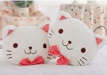 Cute 1pair 25cm plaid bowknot sweet cat plush car soft headrest Vehicle rest neck pillow stuffed toy