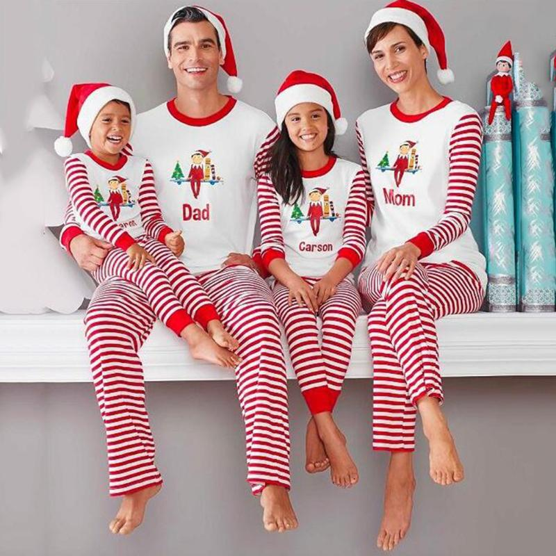 family matching clothes Set family look family christmas pajamas T-shirt + Pants Suit mother and daughter clothes family kits