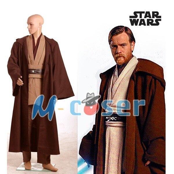 Star Wars Obi-Wan Kenobi Jedi Tunic Robe Cloak Halloween Cosplay Costume For Adult Men Custom Made Free Shipping full set