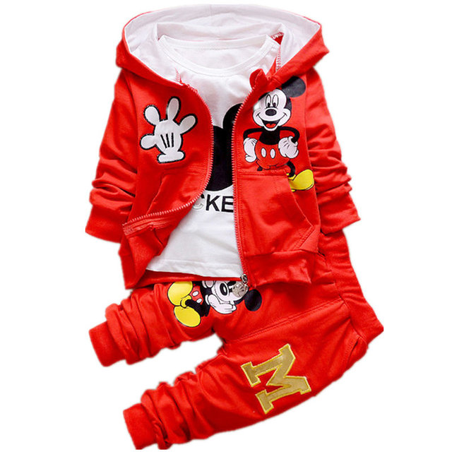Boys Girls Clothes Set For Baby Girls Cartoon Mickey Mouse Hooded Coat+T-shirt+Pant 3pcs Kids Sport Suit For Children Clothing