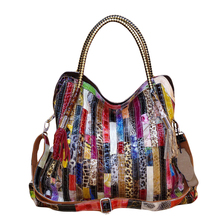 SFG HOUSE Luxury Genuine Leather Top-Handle Bag Colorful Striped Patchwork Women Shoulder Bag Elegant Fashion Cross Body Bags