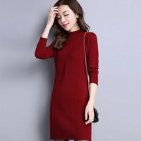 New Autumn Winter Dresses Women 2016 Casual Sheath Warm Cotton Solid Long Sleeve Knee Length Turtleneck