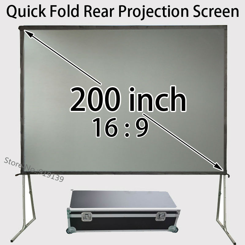Quick Open HD Rear Projector Screen 200inch 16:9 WIth Carry Case For Outdoor Party Movie Display hot selling 84 inch 16 9 format fast quick fold projector screen for many size front and rear projection screen