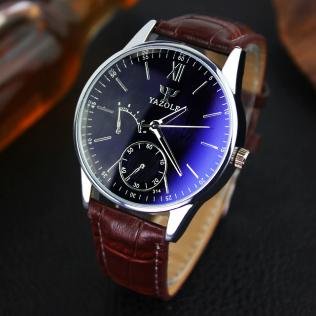 YAZOLE Watches Men Luxury Brand Waterproof Analog Stainless Steel Leather Casual
