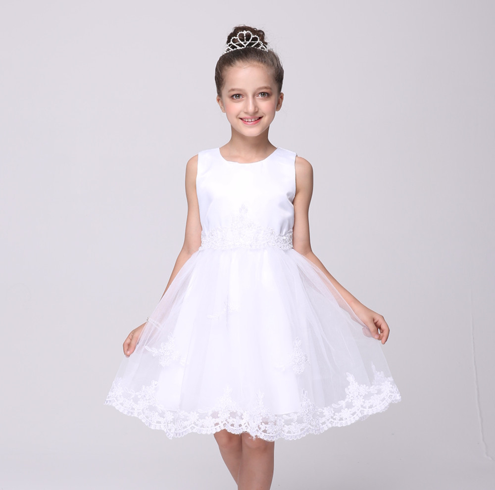Short White Flower Girls Dresses For Wedding Gowns Fashion Girl Birthday Party Dress Knee-Length Mother Daughter Dresses new white ivory nice spaghetti straps sequined knee length a line flower girl dress beautiful square collar birthday party gowns