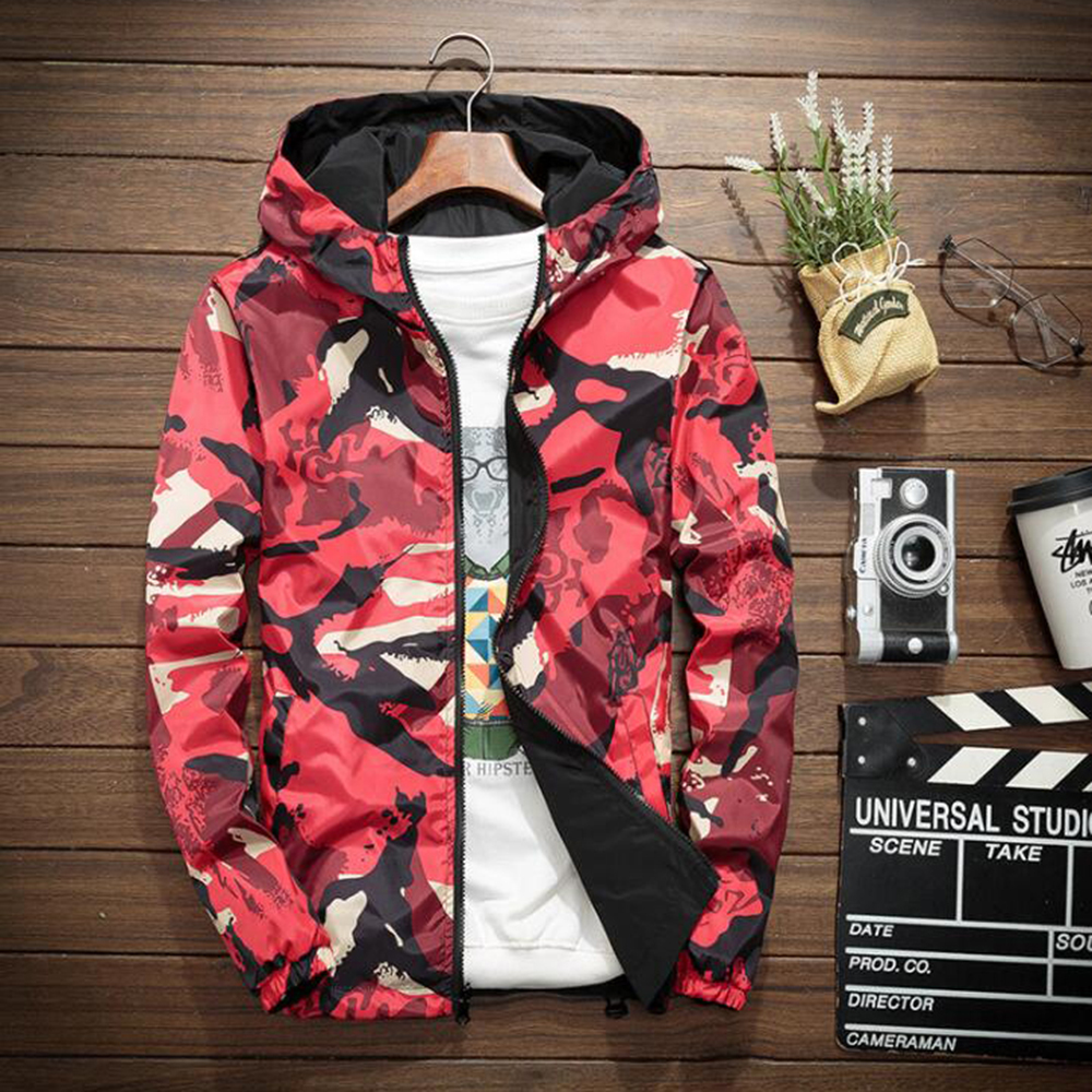 Men Streetwear Hooded Jackets Men 2018 Camouflage Color Block Pullover Bomber Hooded Jacket Fashion Tracksuit Casual Coat Men in Jackets from Men 39 s Clothing