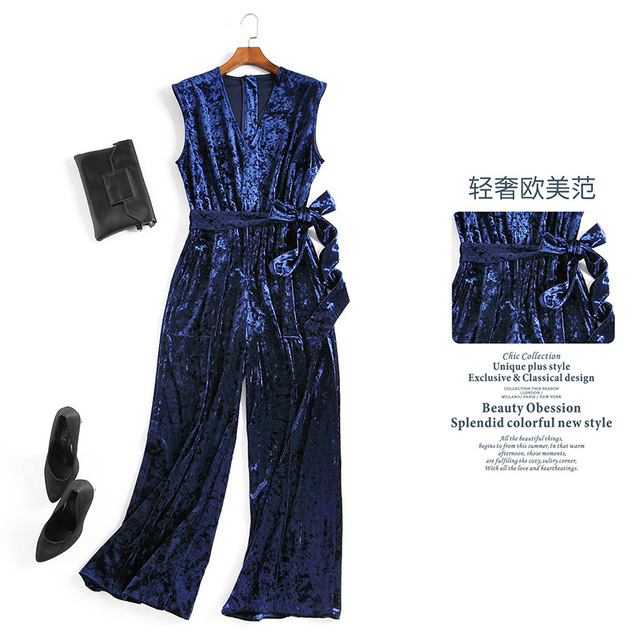 Sexy fashion women velvet Jumpsuit sleeveless deep v-neck wide leg pants bow sashes velour overalls 2017 spring new blue red