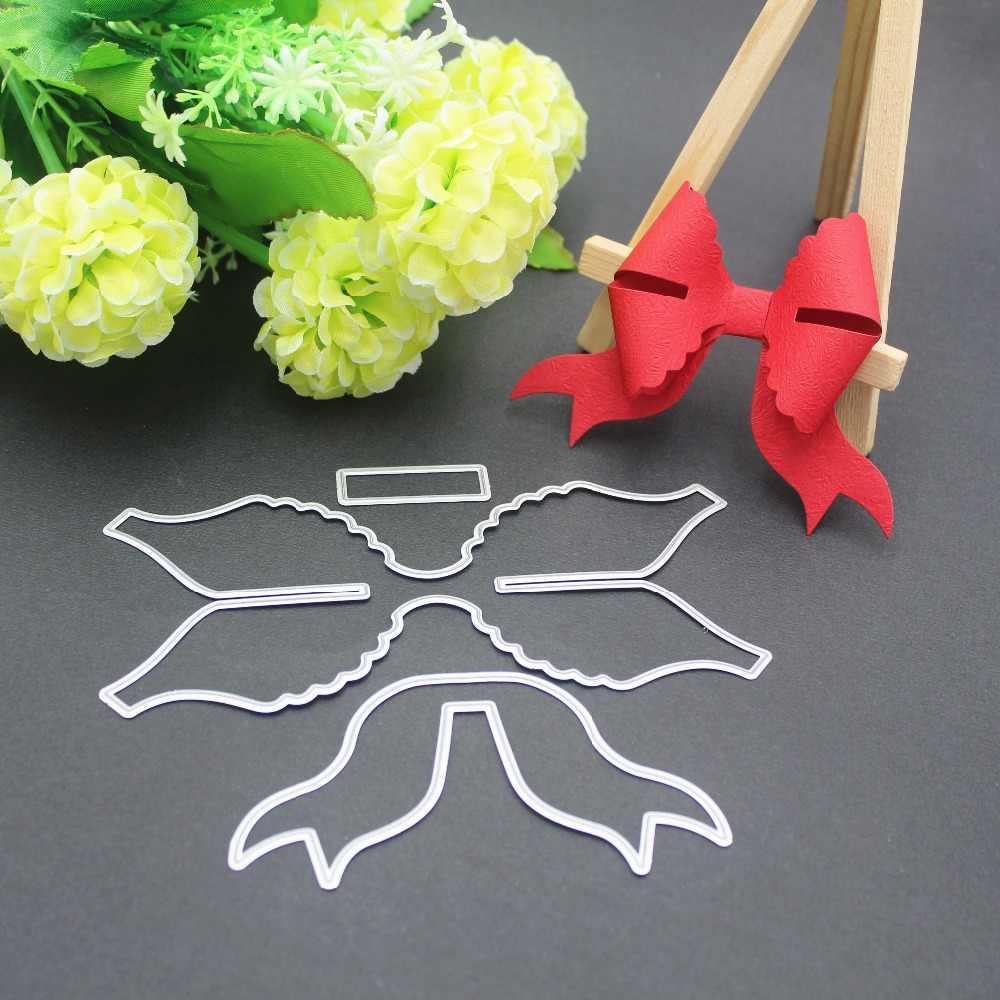 9 รูปแบบ 3D โบว์กรอบโลหะตัดตาย Stencils สำหรับ DIY Scrapbooking การ์ดอวยพรคริสต์มาสตกแต่ง Embossing แม่แบบ