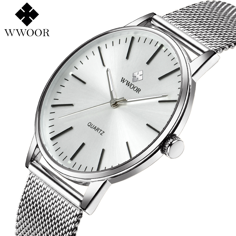WWOOR 2018 Hot Sale Fashion Luxury Quartz Watches Men Sport Military Stainless Steel Dial Band Fashion Wrist Watch Wholesale design for men full steel watch quartz fashion hot sale relojes male watches fashions luxury round dial famous brand relogios
