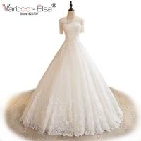 VARBOO_ELSA Elegant White Lace Short Sleeve Wedding Dress Custom High Quality Bridal Gown Sexy Boat Neck 2017 Cheap Wedding Gown