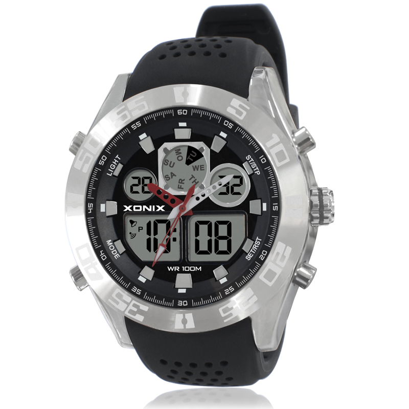 Mens Sports Watches Dual Display Digital Quartz Waterproof 100M LED Light Silicone Strap Swim Outdoor Watch