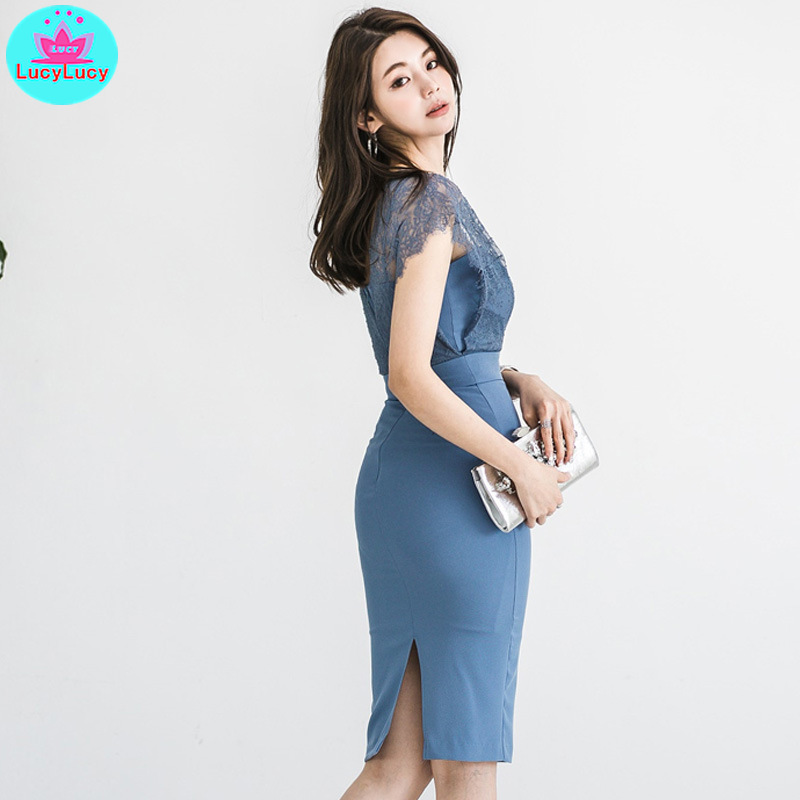 2019 summer and autumn new Korean women 39 s sexy V neck sleeveless lace stitching slim pack hip dress in Dresses from Women 39 s Clothing