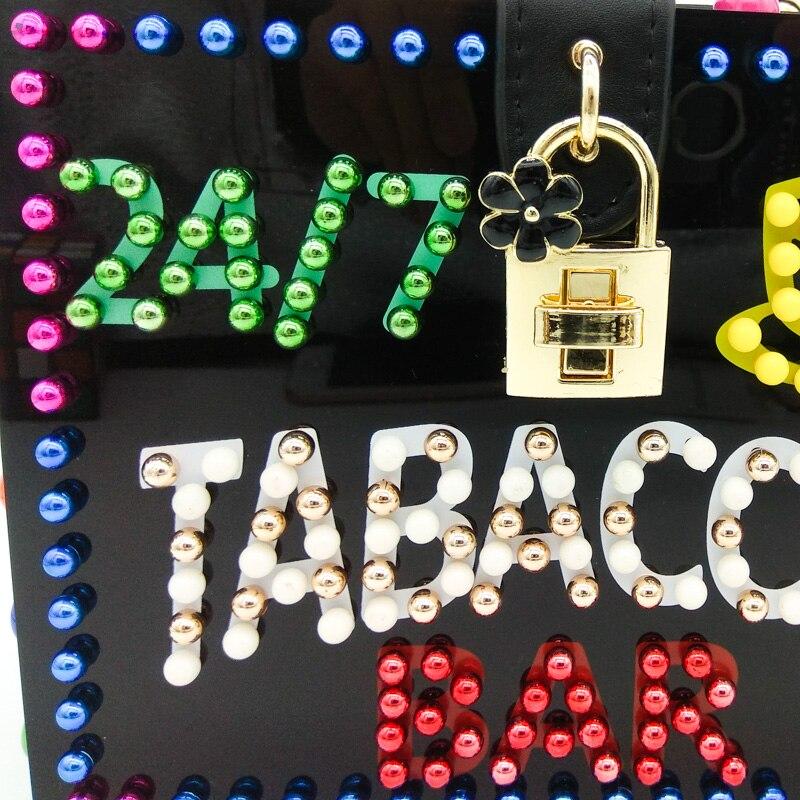 Black Femmes Main Led Tabacchi À blue Bar Mode Sac Bag Lettre Bag Boîte Bandoulière Totes Bannière Perlé Acrylique D'épaule Double Evening Fleur De wa0q5ttU