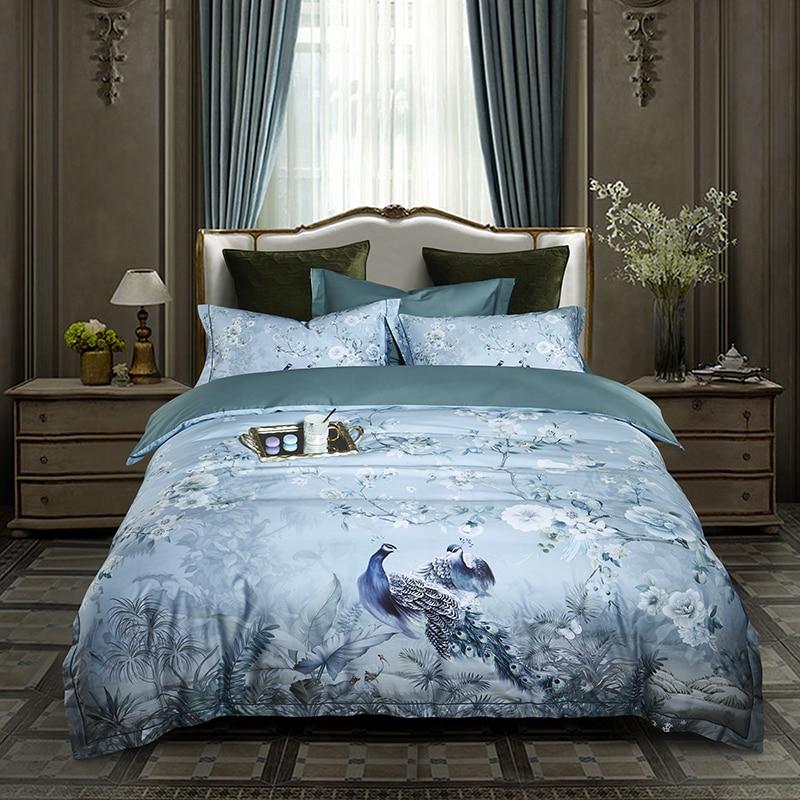 New Peacock Bedding set King Queen size egyptian cotton duvet cover set bedclothes bed sheet bed linen