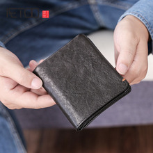 AETOO Sheepskin wallet Male short leather soft handmade money clip young mens vertical mini
