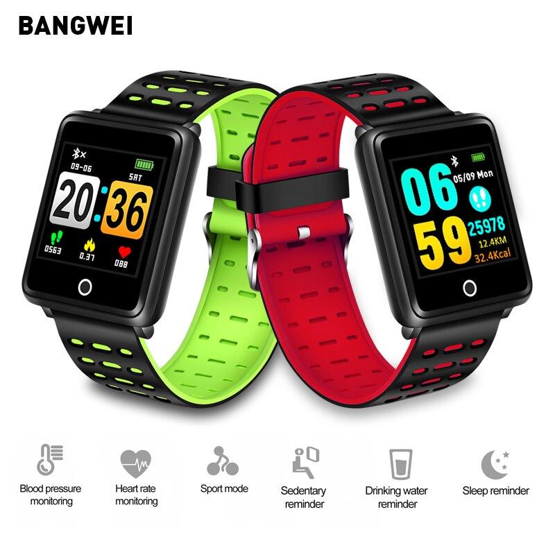BANGWEI smart men montre étanche sport montre tension artérielle surveillance de la fréquence cardiaque podomètre information rappel pour Android