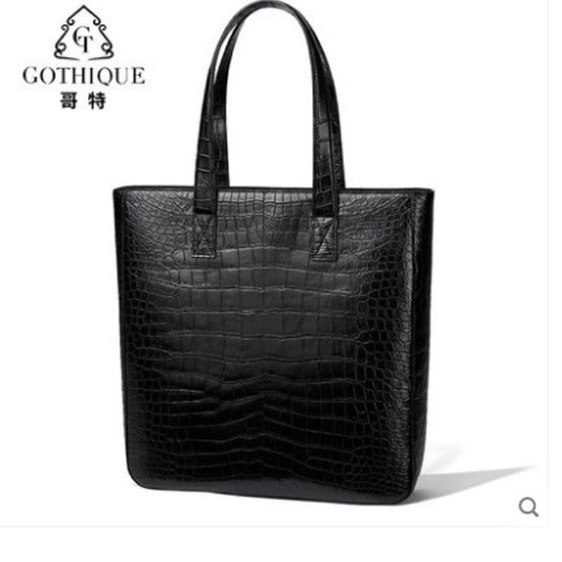 GETE  2019 New Fashionable Crocodile Skin Lady Bag Leather Handbag Nile Crocodile Belly Luxury Sensitive Tote Bag