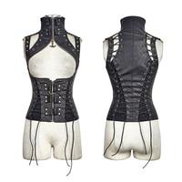 Steam Punk Black High Collar Vest For Women Visual Kei Sleeveless Thoracotomy Vest Female Corset WaistCoat